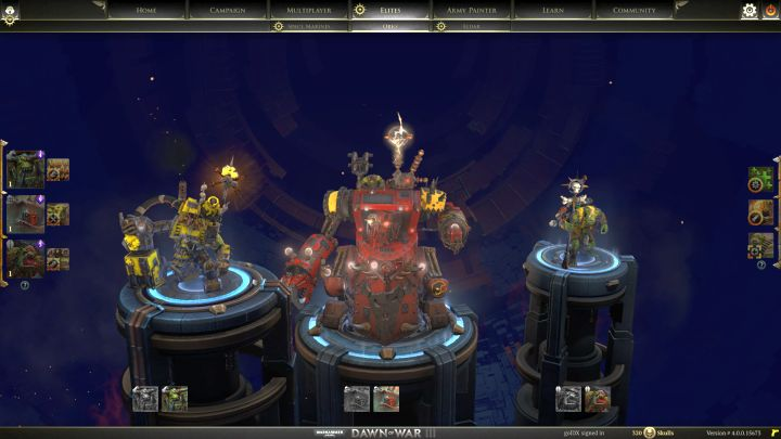 Ork elite unit selection screen. - Elite units - Ork - Warhammer 40,000: Dawn of War III Game Guide
