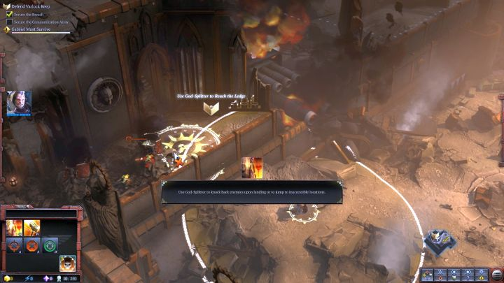 Use Gabriels second active ability, God-Splitter, to get to the specified place. - Mission 1 - The Defense of Varlock Keep - Campaign � walkthrough - Warhammer 40,000: Dawn of War III Game Guide