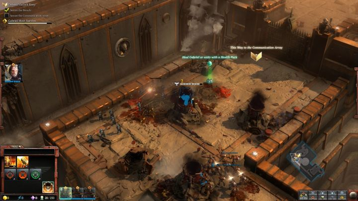 The first of many Health Packs you will stumble upon during the campaign. - Mission 1 - The Defense of Varlock Keep - Campaign � walkthrough - Warhammer 40,000: Dawn of War III Game Guide