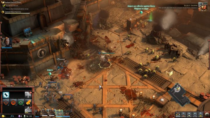 Scout Sniper units are extremely effective at eliminating enemies from a huge distance. - Mission 1 - The Defense of Varlock Keep - Campaign � walkthrough - Warhammer 40,000: Dawn of War III Game Guide