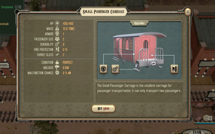 A small passenger carriage - Contracts from Jeremiah | Walkthrough - Walkthrough - Bounty Train Game Guide