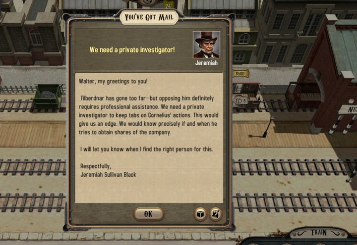 A proposal suggesting you to hire a private investigator - A private investigator | Walkthrough - Walkthrough - Bounty Train Game Guide
