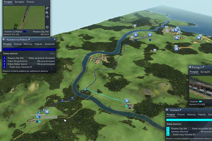 The initial network of stone distribution - first the water dams, then the stone dumps. - Mission 3 - Panama Canal | The USA Campaign - The USA Campaign - Transport Fever Game Guide