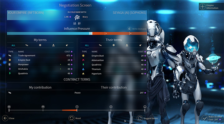 The Negotiation Screen opens every time when you click on a symbol or name of a system of a given empire - Diplomacy in Endless Space 2 - Gameplay basics - Endless Space 2 Game Guide