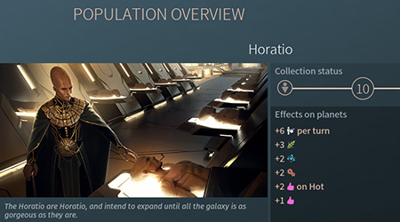 Horatio, after getting genes from a few races, become a very productive race. - Horatio Race in Endless Space 2 - Races - Endless Space 2 Game Guide