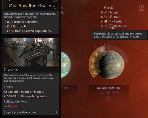 Cravers can accelerate the production significantly in systems with other races but at the expense of planets resources. - Cravers Race in Endless Space 2 - Races - Endless Space 2 Game Guide