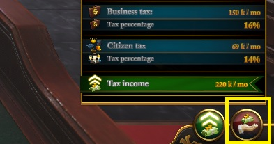 Another function of the panel in question, is connected to taxes - City Council | Politics - Politics - Urban Empire Game Guide