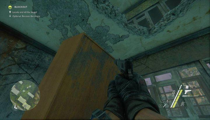 To reach the upper floor, use the wardrobe presented in the screenshot and use the hole in the ceiling - Blockout | Act 1 | Walkthrough - Act 1 - Sniper: Ghost Warrior 3 Game Guide