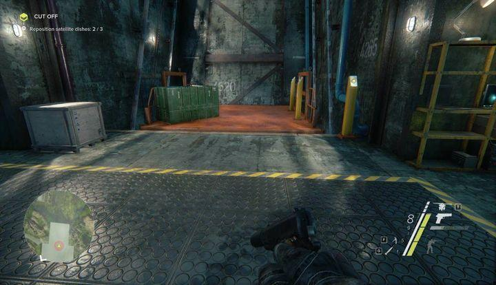 Use the elevator presented in the screenshot (the button is on the yellow pole) and get out of the building - Cut Off | Act 1 | Walkthrough - Act 1 - Sniper: Ghost Warrior 3 Game Guide