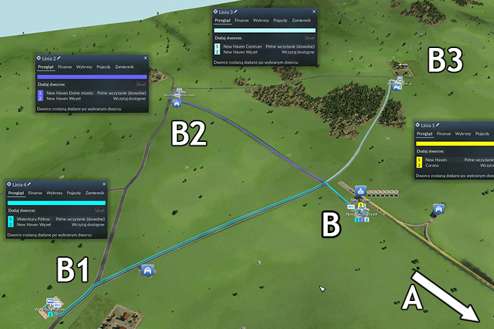 Line AB B1,B2,B3 and the other way around - Creating connections - Tips and Playthrough description - Transport Fever Game Guide