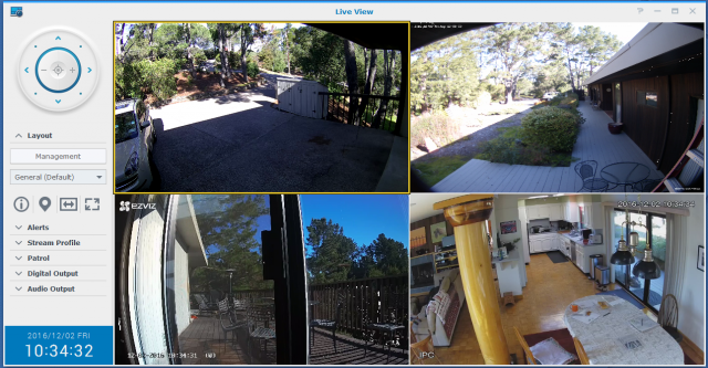 Here you can see four different vendor's cameras monitored at once using a Synology NAS